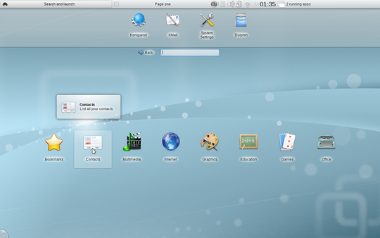 KDE 4.5 Plasma Netbook Workspace